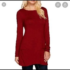 Susan Graver red tunic long sleeve